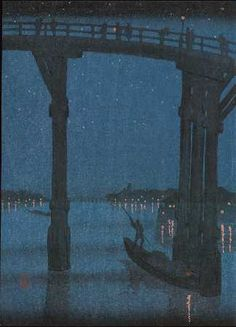 "Ukiyo-e Gallery KOBAYASHI,Ejiro-""A HIgh Bridge by Night"""