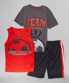 This Engine Red 'Best Athlete' Tank Set - Toddler & Boys by 360 Sports is perfect! #zulilyfinds