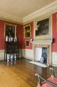 The Withdrawing Room at Ham House ~ The Withdrawing Room at Ham House, Richmond-upon-Thames. The cabinet on a stand inlaid with ebony, tortoiseshell and marble is probably Antwerp, 1630s. The collection of blue-and-white Kangxi porcelain is on the cabinet, and chimneypiece, with a late-sixteenth or early-seventeenth century Ming vase in the fireplace.