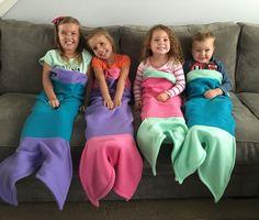 Super Soft Children's Fleece Mermaid Tail Blanket by SwaddleBunny