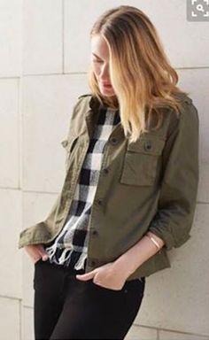 how to style olive vest or jacket, check top....