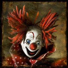 Bozo The Clown's Secret - Photograph - 7x7  Creepy, Scarey, Sepia Red Orange, Vintage, Polaroid Style, Carnival, Amusement  by Jean Lannen on Etsy, $30.00