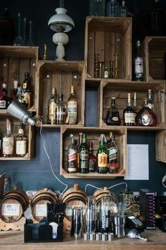 Bar More Bar Design Awards, Bar Pallet, Pallet Walls, Deco Restaurant, Restaurant Ideas, Rustic Restaurant Design, Brick Restaurant, Mobile Restaurant, Bar Shelves