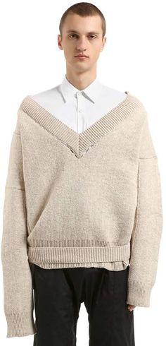 Raf Simons Oversized Wool Knit Sweater W/ Buckle
