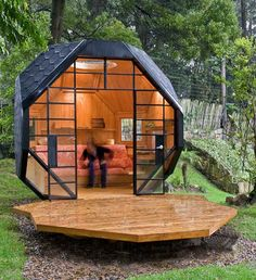 How cool is this!  House inspiration:  This cozy, compact home would also make an inspiring live/work space for those work-from-home professionals, a book nook, or a lovely small guest house for those lucky visitors invited to spend the night.