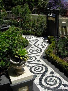 Black and white mosaic path