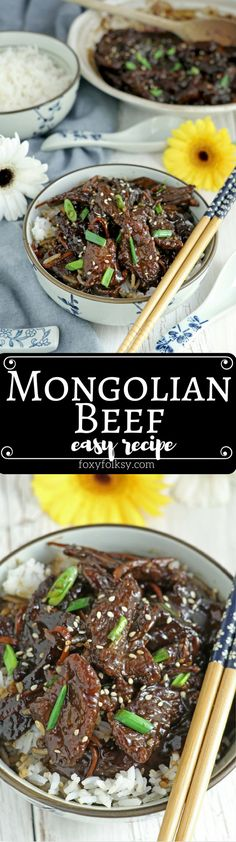 Sweet and savory, super easy Mongolian Beef Recipe. Try it now! | www.foxyfolksy.com