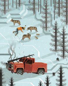 """""""The Tree"""". Pixel Art Illustration by Octavi Navarro. 2014.  http://pixelshuh.tumblr.com"""