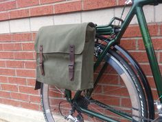Simple Canvas Bicycle Pannier in Four Colorways by WhiteLineBags Bicycle Rear Rack, Bicycle Panniers, Bicycle Bag, Cycling Gear, Bike Accessories, Bicycles, Messenger Bag, Satchel, Bike Stuff