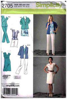 Simplicity Sewing Pattern 2705 Misses'/Women's Dress, Top, Pants, Shorts, Jacket Size: BB 20W-28W or AA 10-12-14-16-18 Uncut