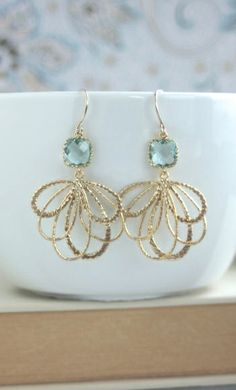 Aqua Blue Gold Feather Earrings. Aqua Blue Wedding. Bridesmaids Gifts | By Marolsha.