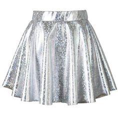 Holographic Silver Mini Skater Skirt