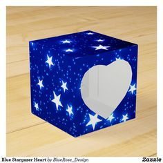 Blue Stargazer Heart Favor Box Christmas Favors, Christmas Card Holders, Holiday Cards, Christmas Cards, Stargazer, Favor Boxes, Colorful Backgrounds, Card Stock, Birthdays