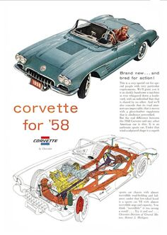 1958 Chevrolet Corvette #ClassicCars #CTins #Chevy
