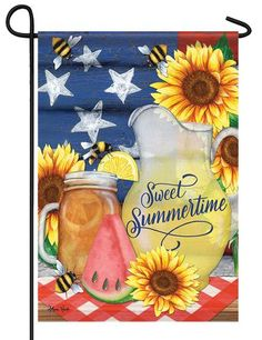 """SUNFLOWER JUNCTION WITH GOLD FINCHES STAR SMALL 18/""""X12/"""" GARDEN FLAG ART"""