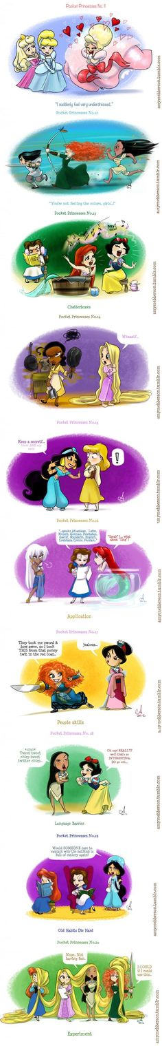 Pocket princess By Amanda Peza. Walt Disney, Canal Disney, Cute Disney, Disney Girls, Disney Magic, Funny Disney, Pocket Princesses, Pocket Princess Comics, Disney And Dreamworks