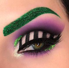 Beetlejuice inspiriert Augen Make-up Edgy Makeup, Eye Makeup Art, Crazy Makeup, Cute Makeup, Eyeshadow Makeup, Disney Eye Makeup, Drugstore Makeup, Eyebrow Makeup, Makeup Kit