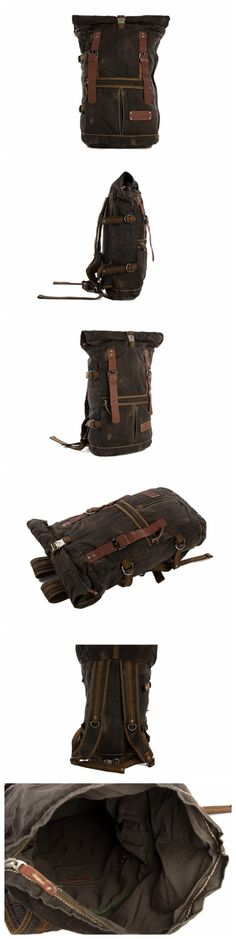 High Quality Canvas Backpack, Waxed Canvas Backpack, Hiking Travel Backpack 5040