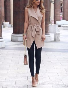 Work Outfits Women - Fashion sleeveless cardigan jacket - My Fashion World Summer Work Outfits, Office Outfits, Fall Outfits, Fashion Outfits, Womens Fashion, Fashion Trends, Ladies Fashion, Summer Outfit, Casual Office