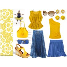 2012 S/S - blue and yellow matching, created by even-syao on Polyvore