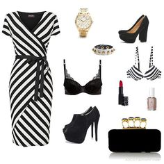 stripped black and white outfit