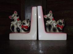 VIntage Porcelain Cat Bookends by alookbackvintage on Etsy