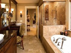 dark counter top love dark Tuscan style colors in the home love this bathroom except need an easier entry into tub
