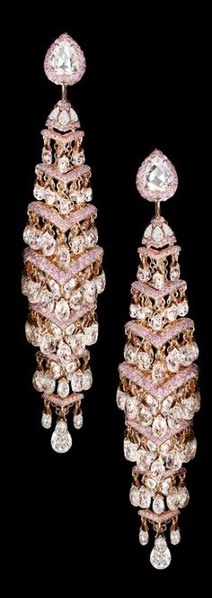 David Morris Jewelry ~ Pink + White Diamond Drop Earrings