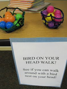 Bird on Your Head walk - a fun game to play at any Elephant and Piggie party Preschool Activities, Activities For Kids, Preschool Programs, Preschool Books, Reading Activities, Piggie And Elephant, Elephant Birthday, Elephant Party, Mo Willems