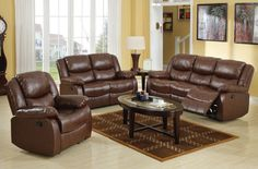 Fullerton Brown Bonded Leather Match Living Room Set
