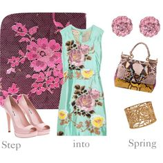 Nice Marni floral jacquard dress and Dolce & gabbana bag in this set, created by rizzort on Polyvore
