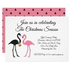 Pink Black Flamingos Christmas Party Invitation  $2.00  by holiday_store  - cyo diy customize personalize unique
