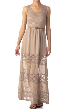 Belted Lace Maxi Dress  $20.99