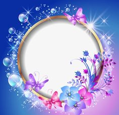 Illustration of Round frame and floral ornament vector art, clipart and stock vectors. Butterfly Frame, Butterfly Flowers, Flower Frame, Flower Art, Butterfly Wallpaper, Love Wallpaper, Nature Wallpaper, Galaxy Wallpaper, Light Background Images