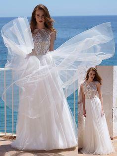 Traumhaftes Brautkleid mit einem Oberteil aus Spitze und fließendem Rock. Lace Wedding, Wedding Dresses, Rock, Fashion, Photos, Wedding Dress Lace, Dress Wedding, Bridal Gown, Curve Dresses