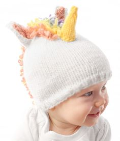 Free Knitting Pattern for Unicorn Bay Hat - Another adorable baby hat from Little Red Window.