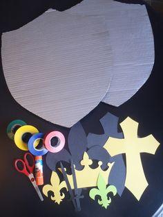 Shiny Cardboard Knight Shield - My Kid Craft Zelda Birthday, Dragon Birthday Parties, Dragon Party, Vbs Crafts, Crafts For Boys, Diy For Kids, Knight Shield, Medieval Shields, Good Knight