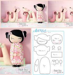 DIY gratuit poupée de chiffon Kokeshi                                                                                                                                                      Plus                                                                                                                                                                                 Plus