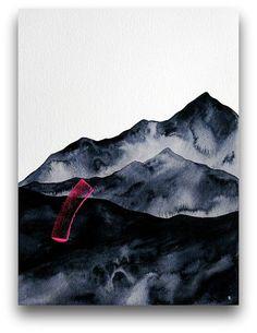 STUDIO SALE  Dark Mountains 3  Large 16x12 by NatashaNewtonArt