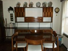 Incredible Matching Rosewood And Walnut Dining Set By Stanley Hutch Table 4 Chairs