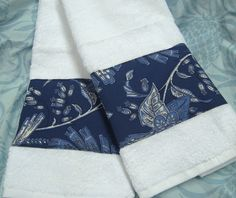 TROPICAL POND Ralph Lauren Fabric Custom Decorated Hand Towels (2) - White Hand Towels