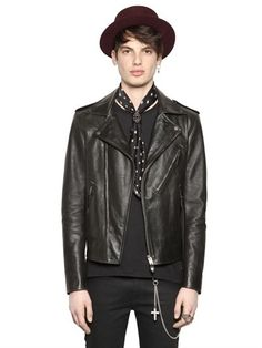 $1,592, Black Leather Biker Jacket: Leather Biker Jacket. Sold by LUISAVIAROMA. Click for more info: https://lookastic.com/men/shop_items/291004/redirect