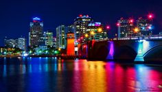 Rainbow of Colors Downtown West Palm Beach by Night Justin kelefas HDRcustoms