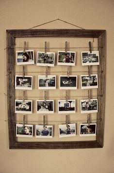 Interesting way to display photos...maybe not the pegs, but another type of clip.