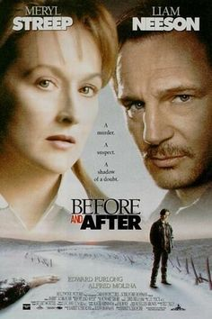 Before and After is a 1996 film, based on the 1992 Meryl Streep as Dr. Carolyn Ryan, Liam Neeson as Ben Ryan, Edward Furlong as Jacob Ryan, and Julia Weldon as Judith Ryan (who also narrated the movie). Edward Furlong, Netflix Movies To Watch, Good Movies To Watch, Great Movies, Meryl Streep, Period Drama Movies, Prime Movies, Bon Film, Tv Series To Watch