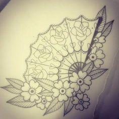 Fan tattoo flash by Hollie West. love the fan idea. Asian Tattoos, Leg Tattoos, Body Art Tattoos, Japanese Tattoos, Ship Tattoos, Arrow Tattoos, Word Tattoos, Small Tattoos, Sailor Tattoos