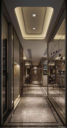 Modern Home Corridor Design That Inspire You 01 Design Entrée, Flur Design, Plafond Design, Lobby Design, House Design, Design Hotel, Design Ideas, Home Luxury, Luxury Interior