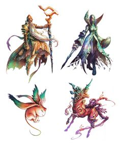 Final Fantasy Tactics Advance - Ramuh, Shiva, Carbuncle, Unicorn