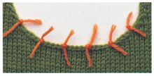 """Stitches must be picked up evenly so that the band will not flare or pull in. Place pins, markers or yarn, as shown, every 2""""/5cm and pick up the same number of stitches between each pair of markers. If you know the number of stitches to be picked up, divide this by the number of sections to determine how many stitches to pick up in each one. If you don't have a final count, use the marked sections to ensure even spacing around the neck."""