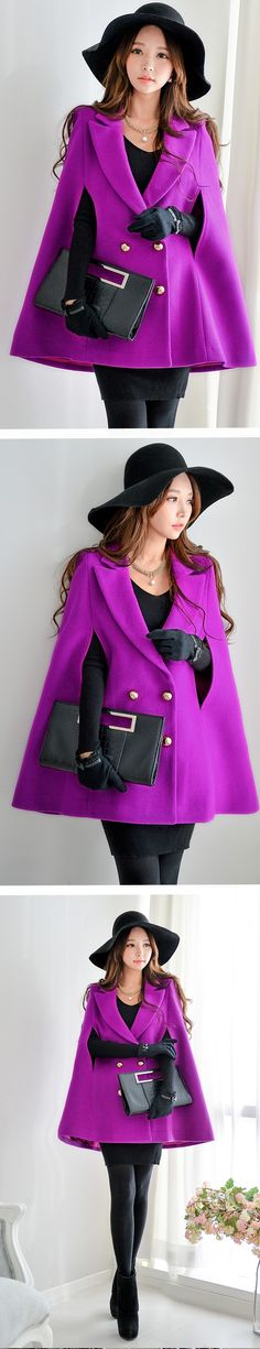 Violet Double-Breasted Cape Coat (Dabuwawa)